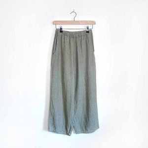 FLAX green heather wide leg linen pants - petite